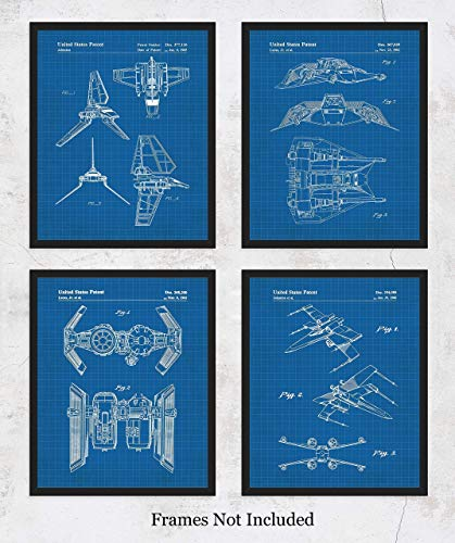 (Original Star Wars Vehicles Blueprint Art Prints – Set of 4 Unframed 8 x 10 Poster Photos. Unique Wall Art for Home, Room & Office Decor. Great Gifts for Men, Women Boys, Girls & Movies Fans)