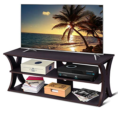 (Tangkula TV Stand 3-Tire Universal TV Stand Storage Console with Storage Shelves for Home Office Sturdy & Stable Construction Display Cabinet TV Entertainment Center Console (Wood Top))