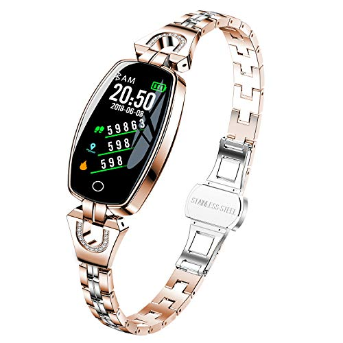 (Fitness Tracker Female Sport Bracelet Smart Wristband Watch for Women Blood Pressure Heart Rate Monitor IP67 Waterproof Jewelry Chain (Rosegold))