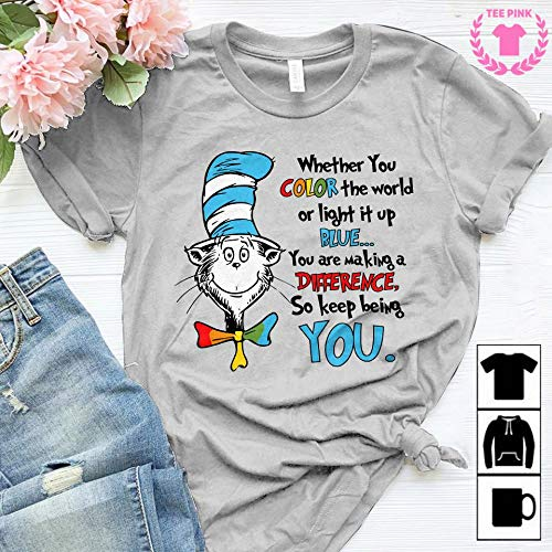 52d1dd66 Amazon.com: Autism Teacher Whether You Color The World Or Light It Up Blue You  Are Making Teacher T-Shirt Sweatshirt Long Sleeve Hoodie: Handmade