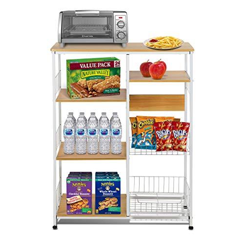 Magshion Baker's Rack Kitchen Island Dining Cabinet Basket Storage Shelves Organizer Wood, Natural