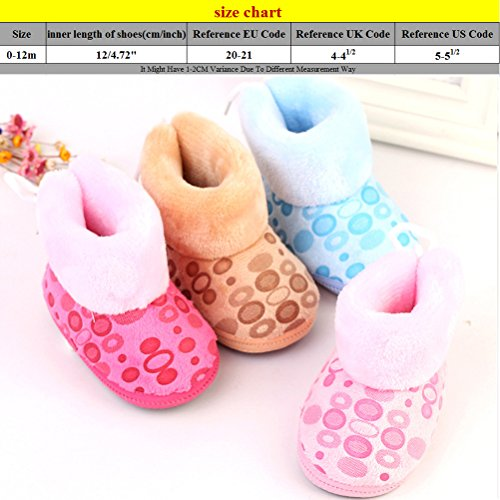 Zhhlinyuan Bebé Girls Boys Soft Sole Snow Boots Toddler Warm Cotton Shoes One Size Pink