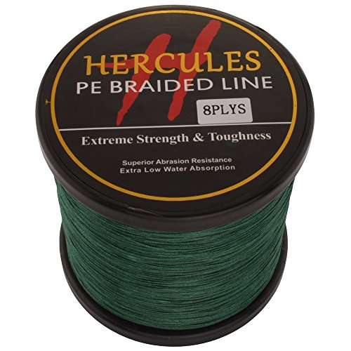 Hercules 1000m 1094yds Green 10lbs-300lbs Pe Dyneema Braided Fishing Line 8 Strands (80lb/36.3kg 0.48mm) For Sale