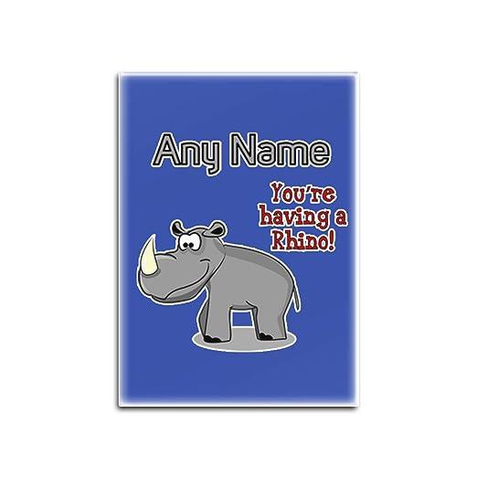 UNIGIFT Imán para Nevera de Cristal de Rhino con Texto en inglés ...