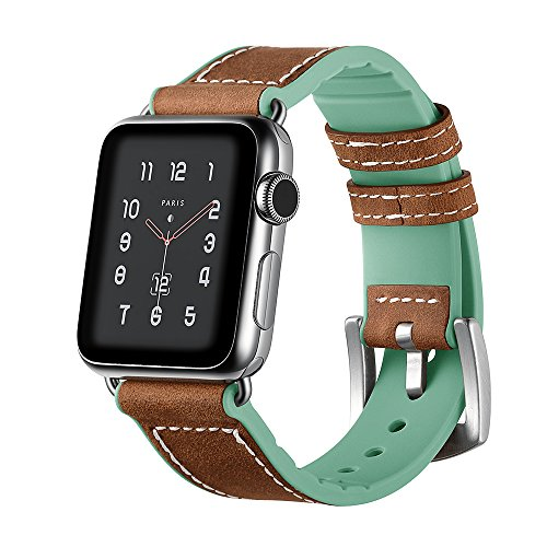 Apple Watch Band, 38mm Genuine Leather & Soft Silicone Material iWatch Band Replacement Strap with Stainless Metal Clasp for Apple Watch Series 3 Series 2 Series 1 Sport and Edition – Mint Green