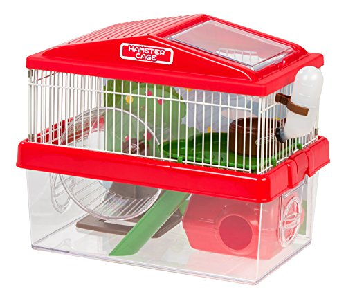 IRIS USA Hamster and Gerbil Pet Cage, 2-Tier, Red