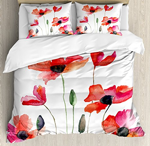 Poppies Quilt Fabric (Ambesonne Watercolor Flower Duvet Cover Set King Size, Poppies Wildflowers Nature Meadow Painting with Watercolor Effect, Decorative 3 Piece Bedding Set with 2 Pillow Shams, Green Orange Pink)