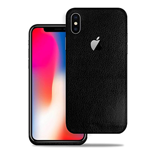 2PK - SOJITEK Apple iPhone X/iPhone 10 Black Leather Texture Protective Vinyl Skin Decal Skins & Wraps ()