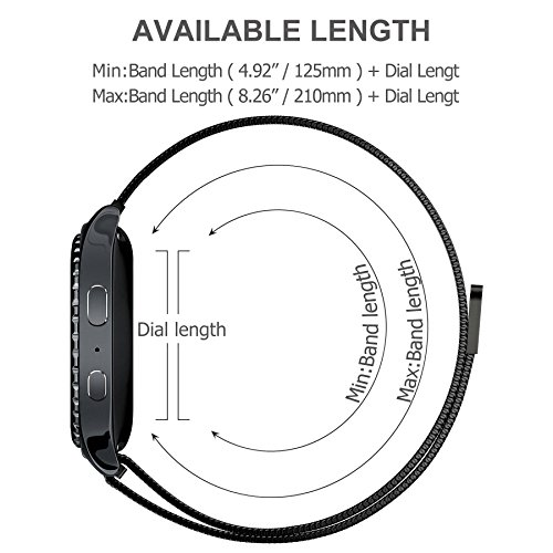 Huawei Watch Band, Fullmosa 18mm Watch Strap with Quick Release Pins for Asus Zenwatch 2/LG Watch Style/Withings Activité/Steel HR 36mm Bracelet Milanese Watch Bands for Men Women, Black by Fullmosa (Image #4)