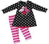 Little Girl Kids Long Sleeve Polka Dots Love Flamingo Pants Set Black 2T XS 317651
