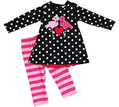 BNY Corner Little Girl Kids Long Sleeve Polka Dots Love Flamingo Pants Set Black 5 L 317651 -