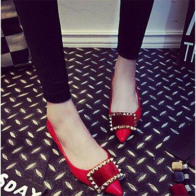 Cómodo y elegante soporte de zapatos de las mujeres zapatos talón plano comodidad Flats Casual negro/rojo/gris negro