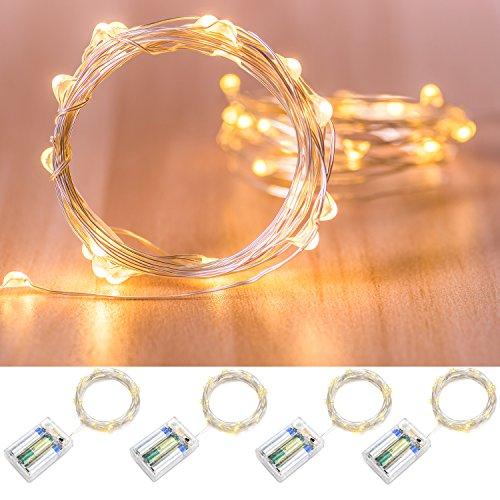 4 Stück 20er LED Drahtlichterkette Batterie-betrieben, Oak Leaf warm-weiß Innen Lichterkette mit Zeiteinstellung, Micro LED 6.6ft Silberne Draht Licht, Weihnachtsbeleuchtung Hochzeit Party Deko Sternen Lichterketten