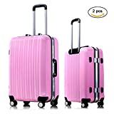 Suitcase Spinner Set Expandable 24 inch Luggage Lightweight Rolling Carry On Bag for Women Travel Luggage (Pink)