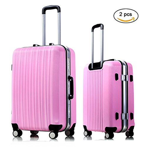 Suitcase Spinner Set Expandable 24 inch Luggage Lightweight Rolling Carry On Bag for Women Travel Luggage (Pink) by VeMee