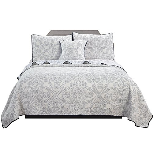 Discount JessyHome Summer Quilts King Size,100% Cotton Coverlet Set, White Reversible Bedspread Set,3 Pieces 1 Quilts 2 Pillow Shams for sale