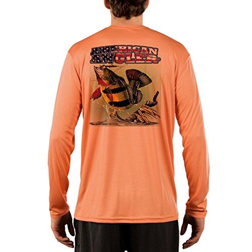 American Angler Men's Peacock Bass UPF 50+ Long Sleeve T-Shirt Medium Citrus (Best Peacock Bass Fishing In Miami)