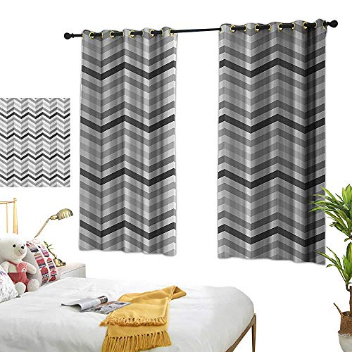 Warm Family Insulated Sunshade Curtain Geometric Decor Collection Fashion Zigzag Old Cloth Design Pattern with Folding Effect Repeat Minimalist Artwork Privacy Protection 55