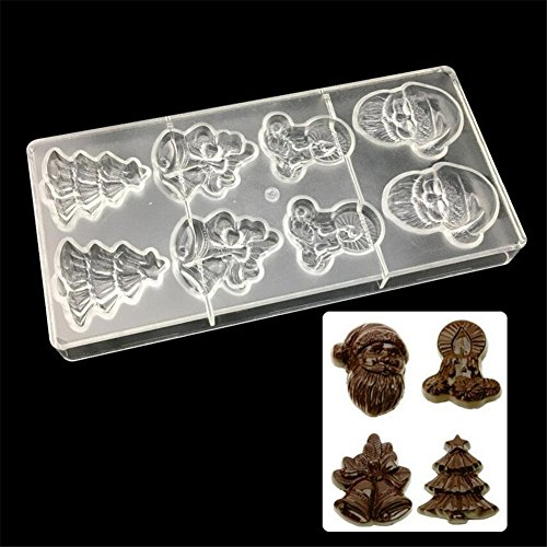 Clear Chocolate Mould Christmas Style Polycarbonate Chocolate Mold 3D Sweet Candy Mold Hard Chocolate Maker PC DIY Candy Mold Jelly Pudding Kitchen Bakeware Sugarcraft Fondant Decorating Baking Tools