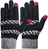 Darller Women Winter Touch Screen Gloves Knit Texting Gloves Touchscreen Mittens,Black,one Size