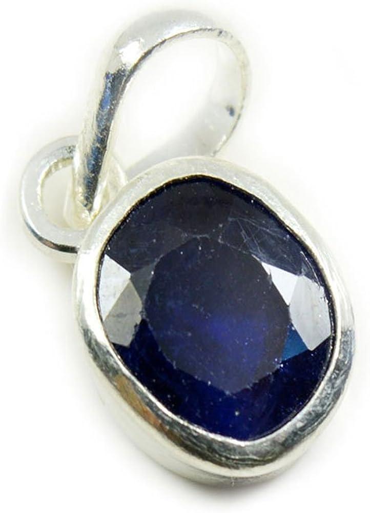 GemsOnClick Colgante de plata de zafiro azul natural de 5 quilates con piedra preciosa de septiembre