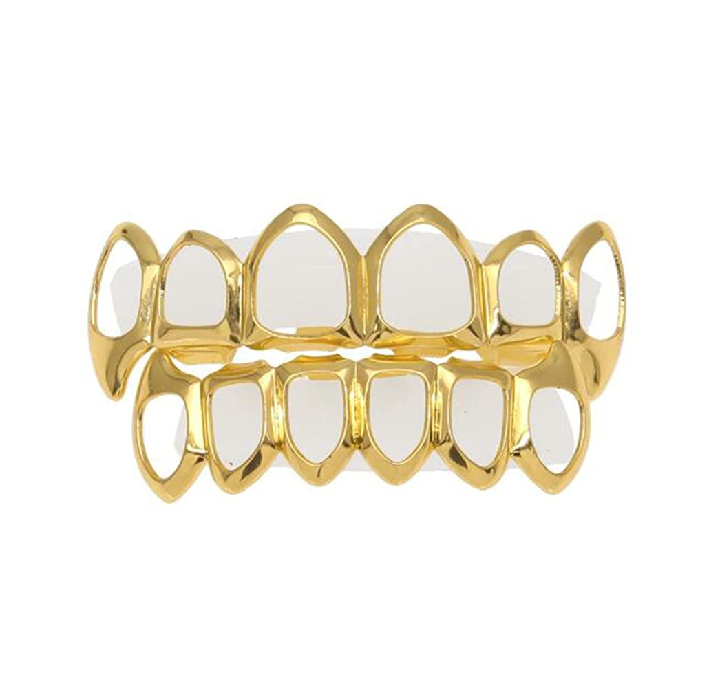 MCSAYS Fashion Hip Hop Novelty Jewelry Teeth Grillz Edge SET Gold Plated