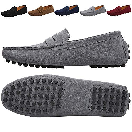 JIONS Men's Driving Penny Loafers Suede Driver Moccasins Slip On Flats Casual Dress Shoes Grey 12 D(M) US/EU 48