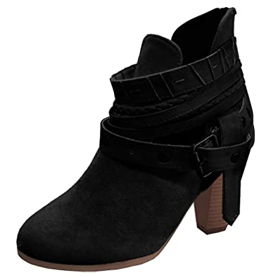 6685f08592a Poplover Women's Faux Suede Back Zipper Ankle Boots Mid Block Heels Shoes