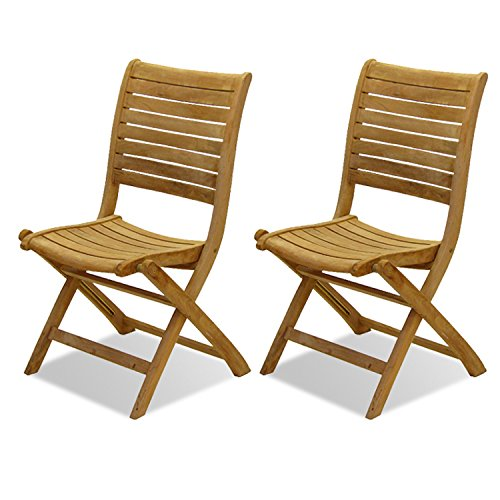 Amazonia Teak Dublin 2-Piece Teak Folding Chairs (Staining Teak)