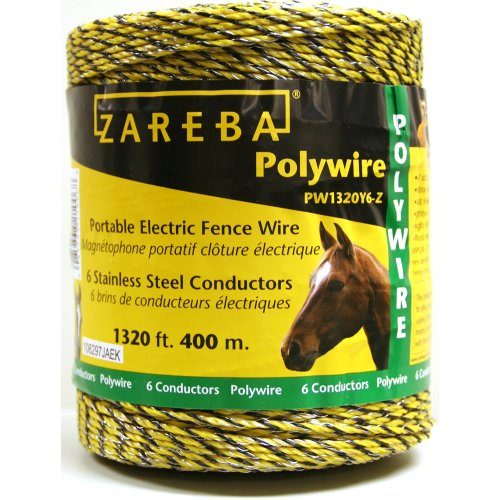 Heavy Electric Fence Wire - Zareba PW1320Y6-Z 400m Polywire with 6 Conductors-1320ft