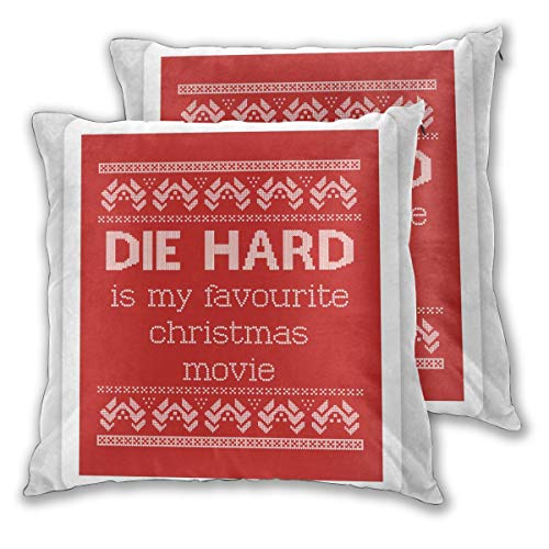 Padida Pack of 2 Quality Pillow Cases, Die Hard is My Favourite Christmas Movie - Ugly Christmas Square Throw Polyester Fiber Pillow Case Decorative Cushion Pillow Cover 16