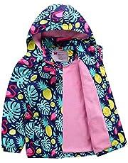 HILEELANG Kids Boy Girl Waterproof Fleece Hooded Rain Jacket Coat Warm Windbreaker Softshell Outwear