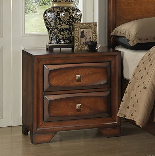 Roundhill Furniture Oakland 139 Antique Oak Finish Wood with 2 Drawers and Night Stand