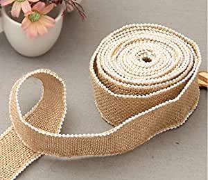 Yulakes 5M Vintage Canvas Hessian Burlap Lace Ribbon Craft Ribbon with Pearl for DIY craft wedding house decor