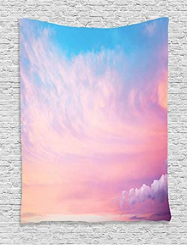 Ambesonne Clouds Tapestry, Mystic Sky with Fluffy Clouds Heavenly Inspirational Hope Pastel Colored Nature Theme, Wall Hanging for Bedroom Living Room Dorm, 60 X 80 , Pink Blue