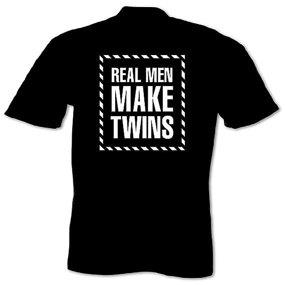 3b30fa96 Bang Tidy Clothing Men's Real Men Make Twins T-Shirt Fun Small Black