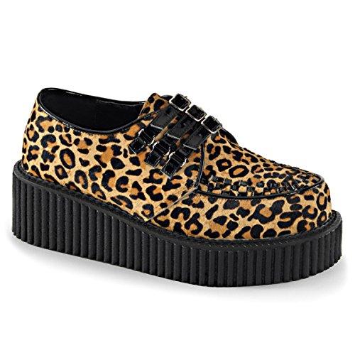 Summitfashions Femmes Imprimé Léopard Chaussures Boucle Sangle Fausse Fourrure Creepers Chaussures 2 Pouces Plate-forme