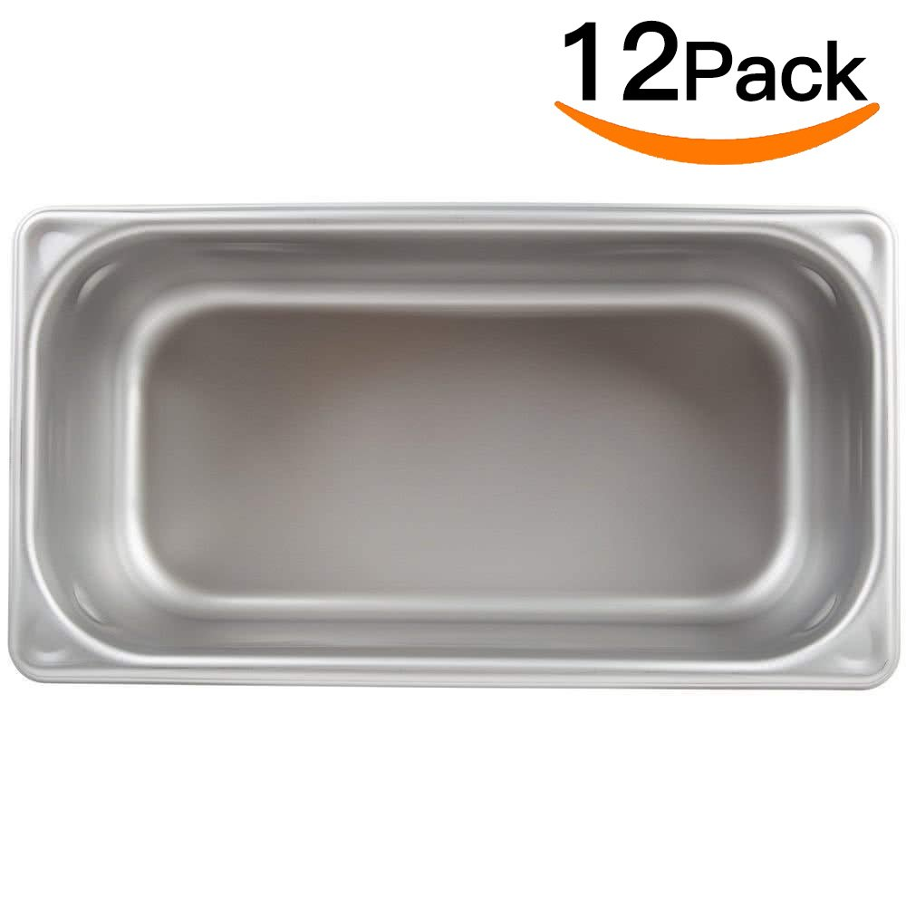 Stainless Steel Steam Table pan 1/3 Size,MIXRICE A2134 Stainless Steel Steam Table pan 4'' Deep and 12 Pieces Per Carton Buffet Food Pans food pan Pack of 12 by ATOSA US