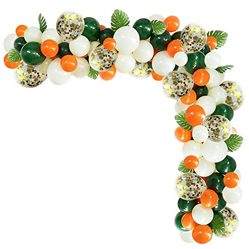 Green White Orange Latex Balloon and Gold Confetti Balloons-Pack100