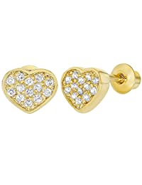 18k Gold Plated Micro Pave CZ Heart Screw Back Baby Earrings 5mm
