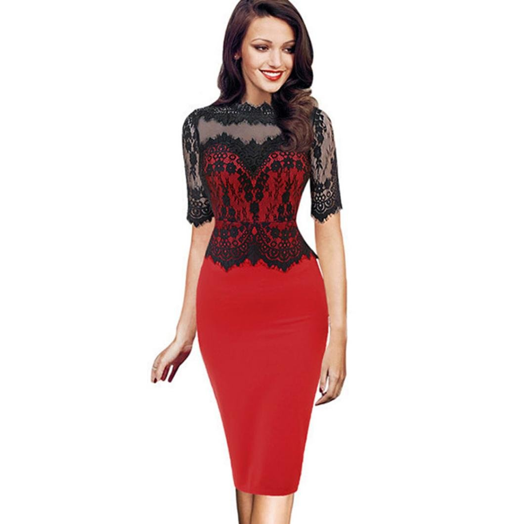 Hemlock Office Lady Dress Lace Bodycon Dress Business Party Dress One Piece Formal Dress Working Dress (L, Red)