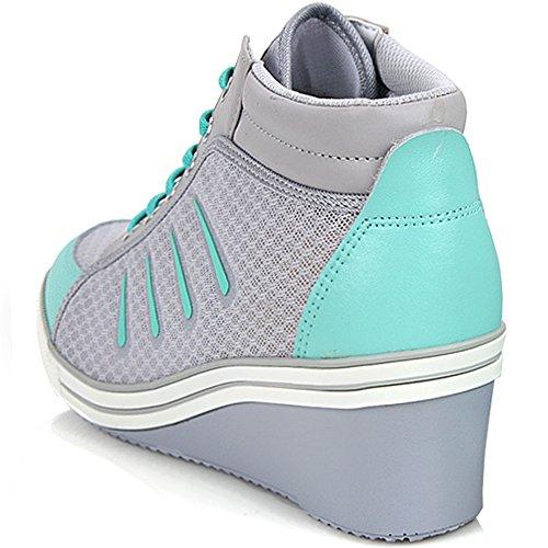 Helt Ny Snörning Casual Skor För Kvinnor Klackar Mode Kil Sneakers - Bekväma Sporthöjd Öka High-top Boots Grå