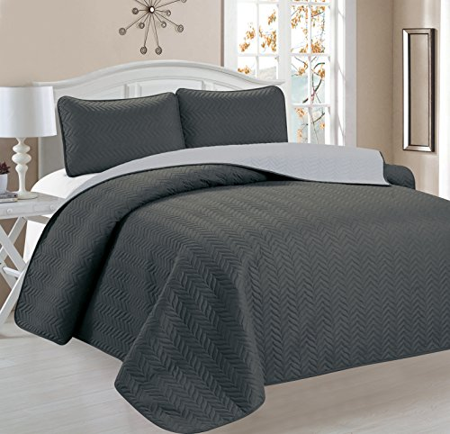 Buy Bargain Home Sweet Home Victoria Design Reversible 3 PC Quilt Bedspread Sets (Full/Queen, Gray/S...