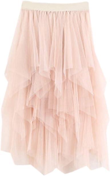 QinMMROPA Falda de Tul Plisada Elegante para Mujer, Mid Falda de ...