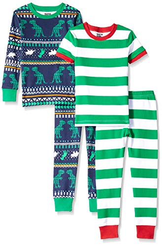 Spotted Zebra Toddler 4-Piece Snug-Fit Cotton Pajama Set, Dinosaur Fairisle, 4T