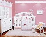 GEENNY OptimaBaby Happy Enchanted Birds 6 Piece Baby Girl Nursery Crib Bedding Set