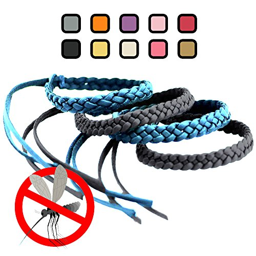 Original Kinven Mosquito Insect Repellent Bracelet Waterproof Natural DEET FREE Insect Repellent Bands, Anti Mosquito Protection Outdoor & Indoor, Adults & Kids, 4 bracelets, in Light Blue/Black