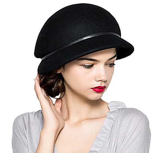 Maitose Women's Belt Wool Beret Cap Black