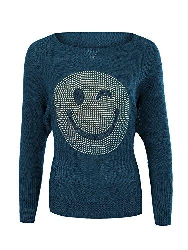 Diva-Jeans N438 Damen Winter Pullover Batwing Smiley Pulli Strick Smily Sweater Shirt Blau qbBJcp5VJ2