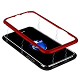 iPhone 8 Magnetic Case, ADSM Magnetic Case with Metal Frame, Glass Back, Magnetic Case for iPhone 8 Aluminum Alloy Tempered Glass with Built-in Magnet Flip Cover for Iphone 8 and iPhone 7(Red)